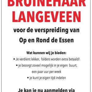 Bezorger gezocht voor Bruinehaar/Langeveen